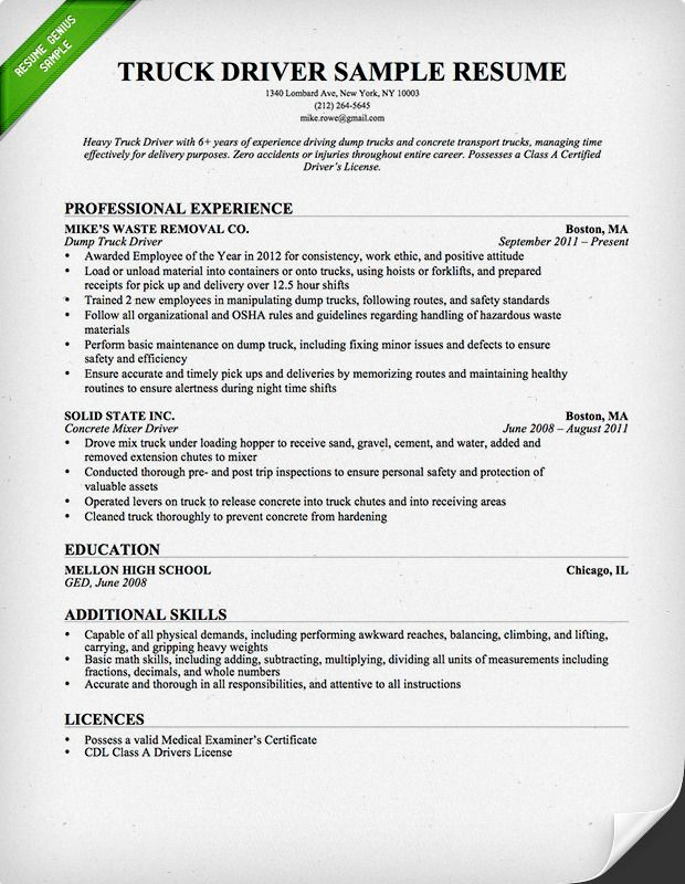 Truck Driver Resume Sample And Tips Resume Genius Resume Examples Job Resume Examples Resume Format Examples