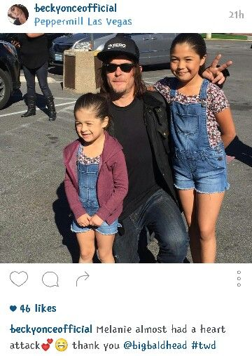Norman Reedus with adorable young fans from @beckyonceofficial on instagram.