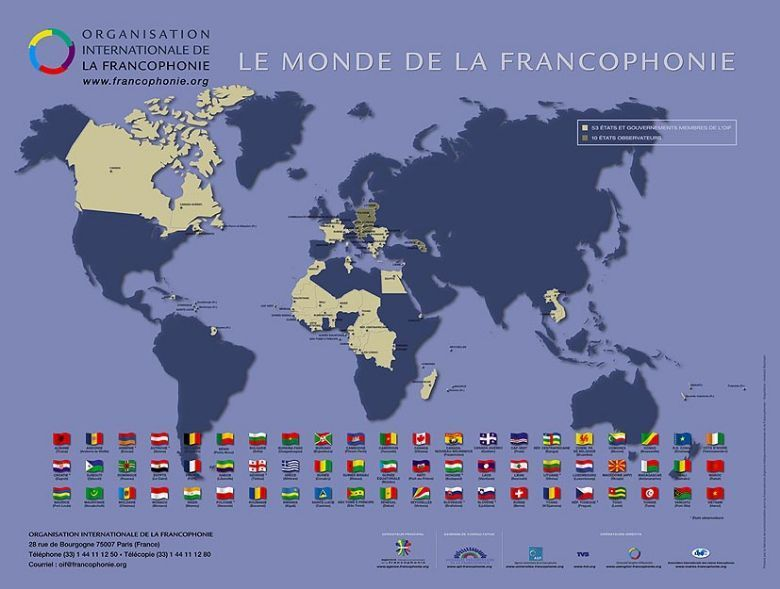 Map of the world's French-speaking countries
