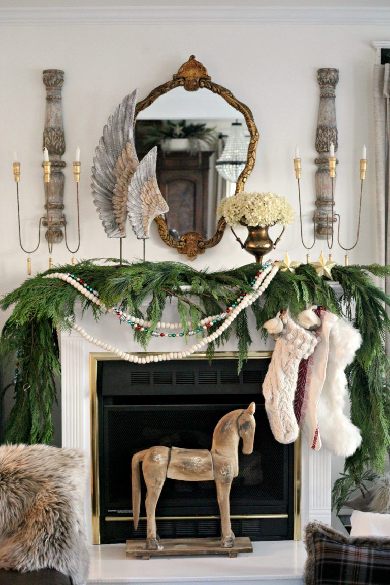 vintage mantel french style christmas - French Style Christmas Decorations