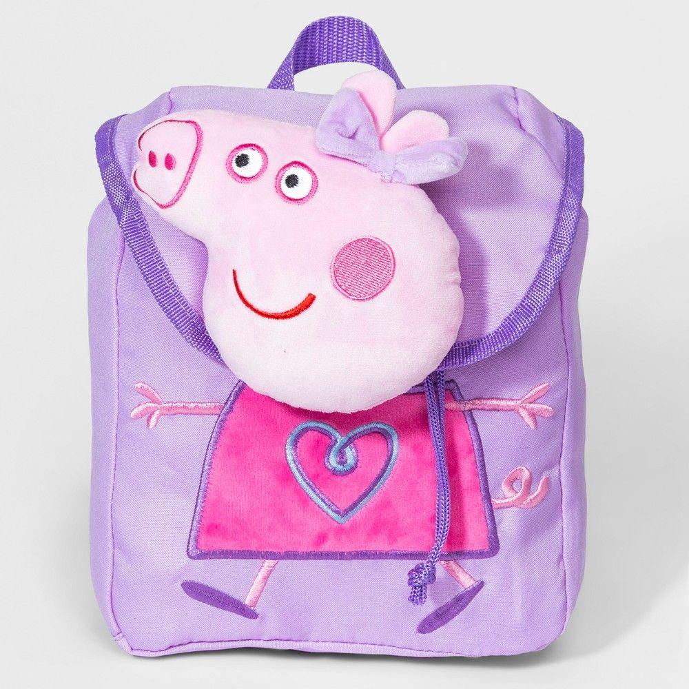 Girls peppa pig plush backpack purple purple backpack