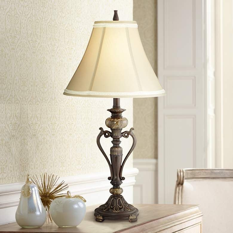 Kathy ireland amor collection accent table lamp in bronze
