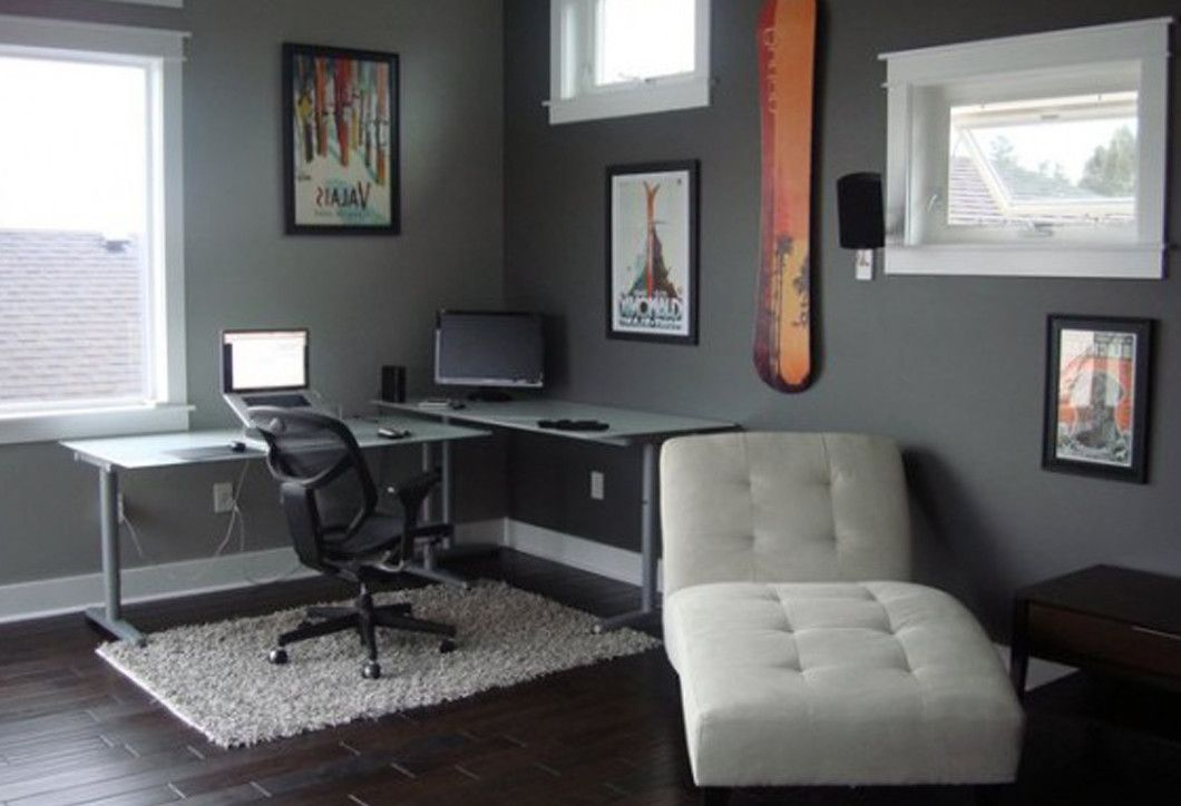 Elegant Style Of Delightful Grey Office Room Interior Design With Cleanly Neat Arrangement Home Living Home Office Decor Small Room Design Home Decor Bedroom