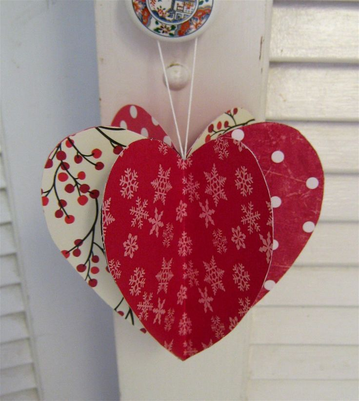 cheap front door decorations for happy valentine day heart shaped red white diy paper snow flake door hanger valentines day door ornament idea multicolor - Valentine Paper Crafts