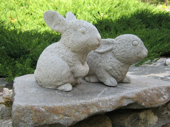 Rabbit Statue Garden Bunny Rabbits Concrete Cement Statues 5 Inch Bunnies Figures