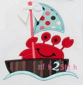 Sailing Crab Boat Applique Design 4x4, 5x7, and 6x10  INSTANT DOWNLOAD now available by TheItch2Stitch on Etsy https://www.etsy.com/listing/150684741/sailing-crab-boat-applique-design-4x4