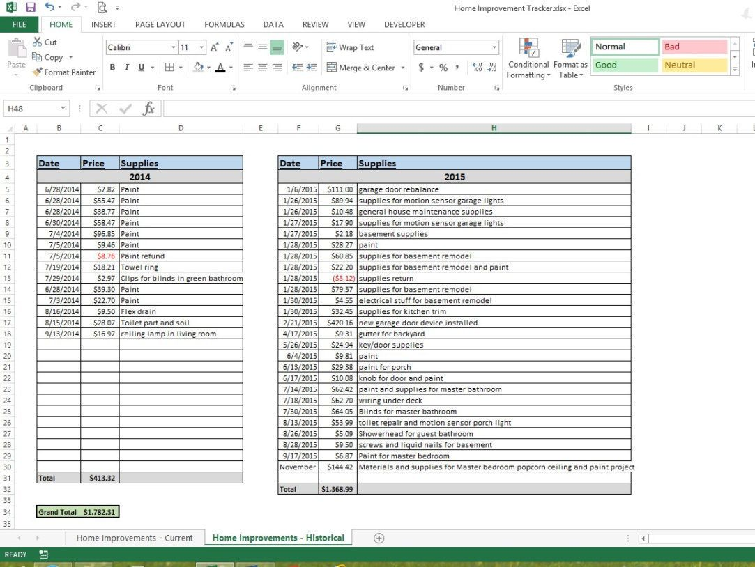 Home Improvement Tracker Microsoft Excel Spreadsheet