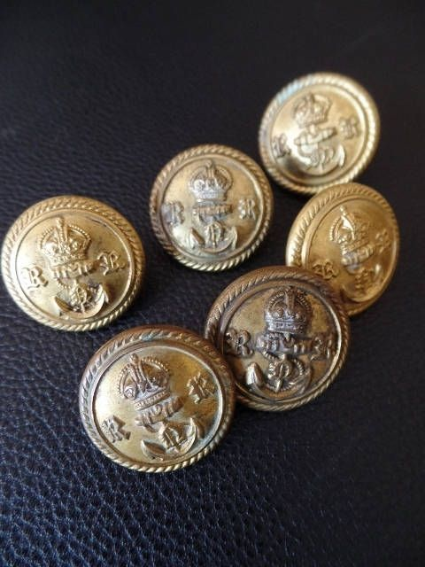 Antique Military Buttons WWII British Navy Reserves Lot of 6 Gold