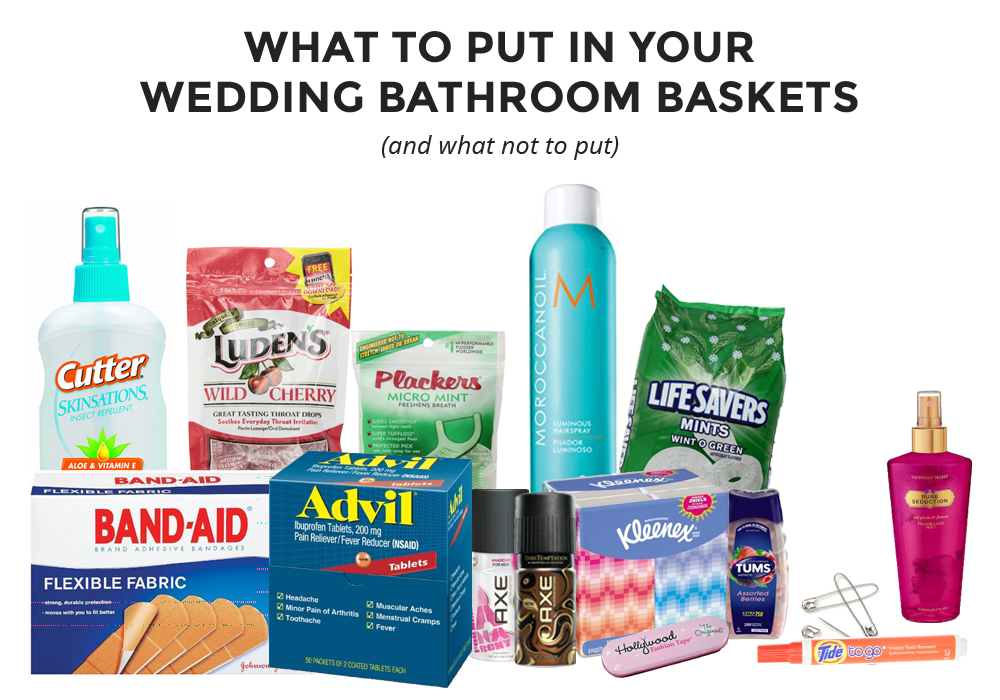 Wedding bathroom basket list dos and don 39 ts bathrooms decor wedding and static cling for What to put in bathroom baskets