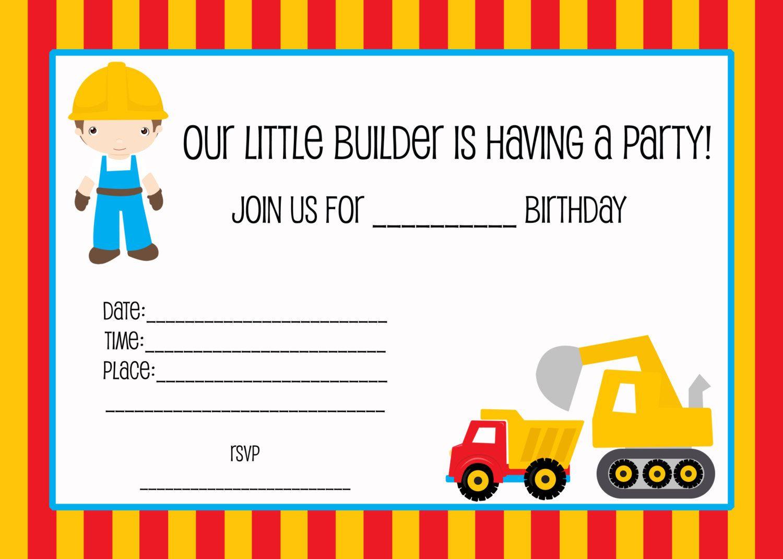 Free Printable Construction Birthday Party Invitations