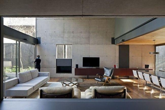 Wunderbar Wohnzimmer Deko Sichtbeton Holzbodenbelag Offen Essbereich