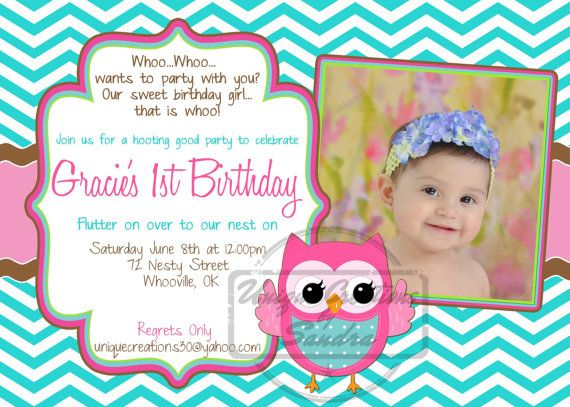 Chevron Owl Birthday Invitation Baby Girl Birthday Owl Birthday