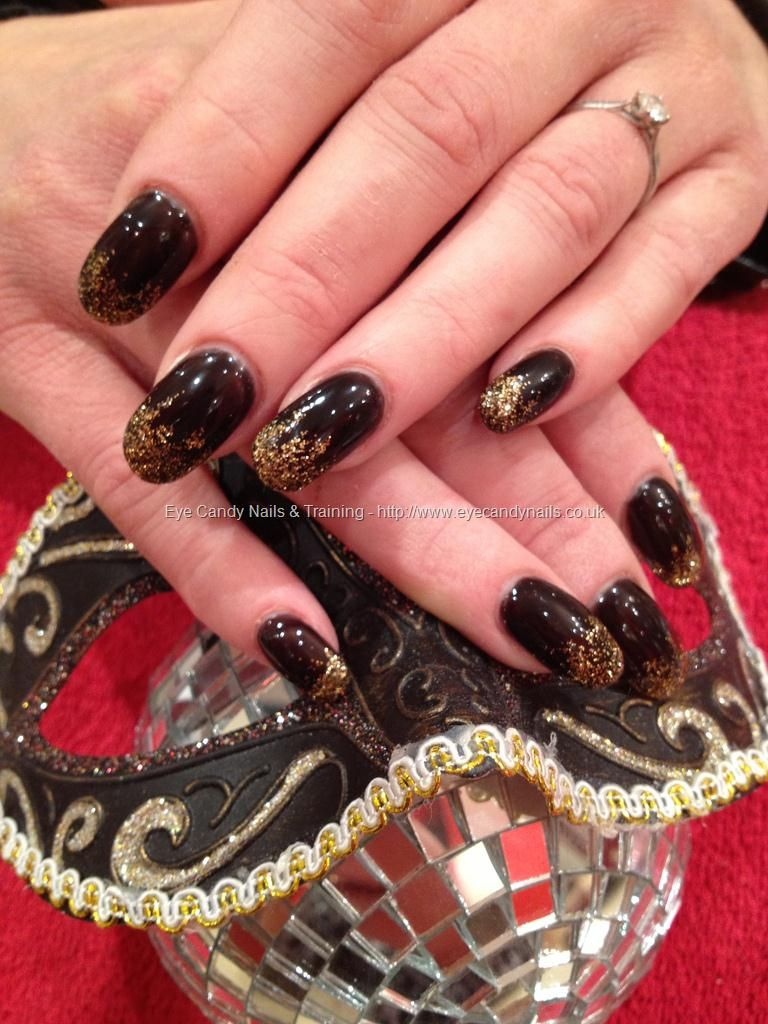 Acrylic nails with black shadow gelish gel polish with crystal nails ...