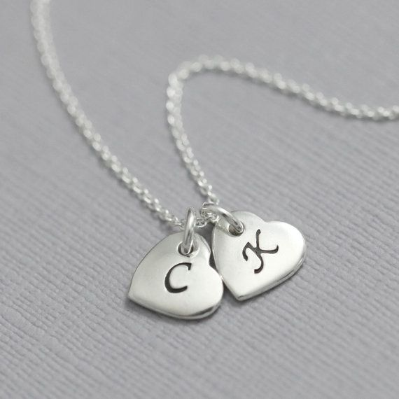 Double heart initial necklace double initial necklace gift for double heart initial necklace double initial necklace gift for her valentines gift mozeypictures Images