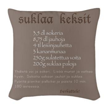 Säkkikangas Tyyny - Suklaa keksit resepti - http://sisustusullakko.com/tuote/sakkikangas-tyyny-suklaa-keksit-resepti