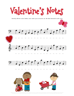 cut free valentines music theory worksheet for practicing note names - Valentines Names