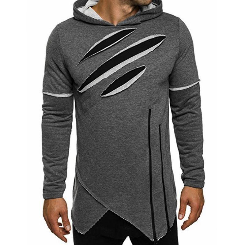 0046decd8e0 Moomphya 2017 Hoodies Men Hip Hop Streetwear Irregular Zip Mens Hoodie  Ripped Curve Hem Pullovers Sweatshirt