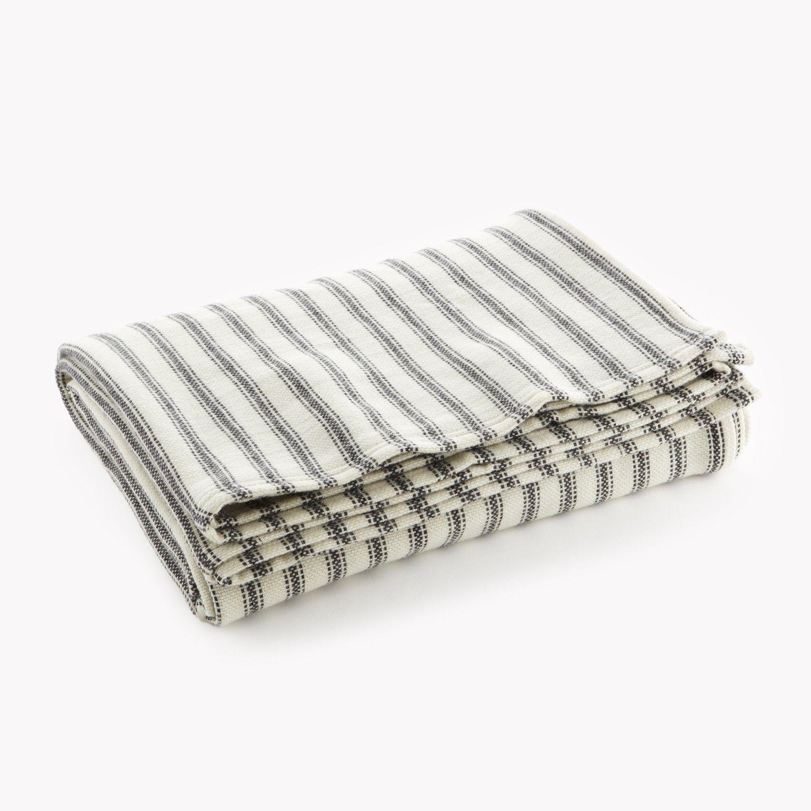 Ticking Stripe Wool Blanket Gray Faribault Woolen Mill
