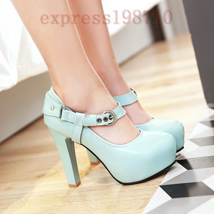 1723f30f5bb Sweet Womens Round Toe Ankle Strap Block High Heel Mary Janes Shoes Pumps  Date