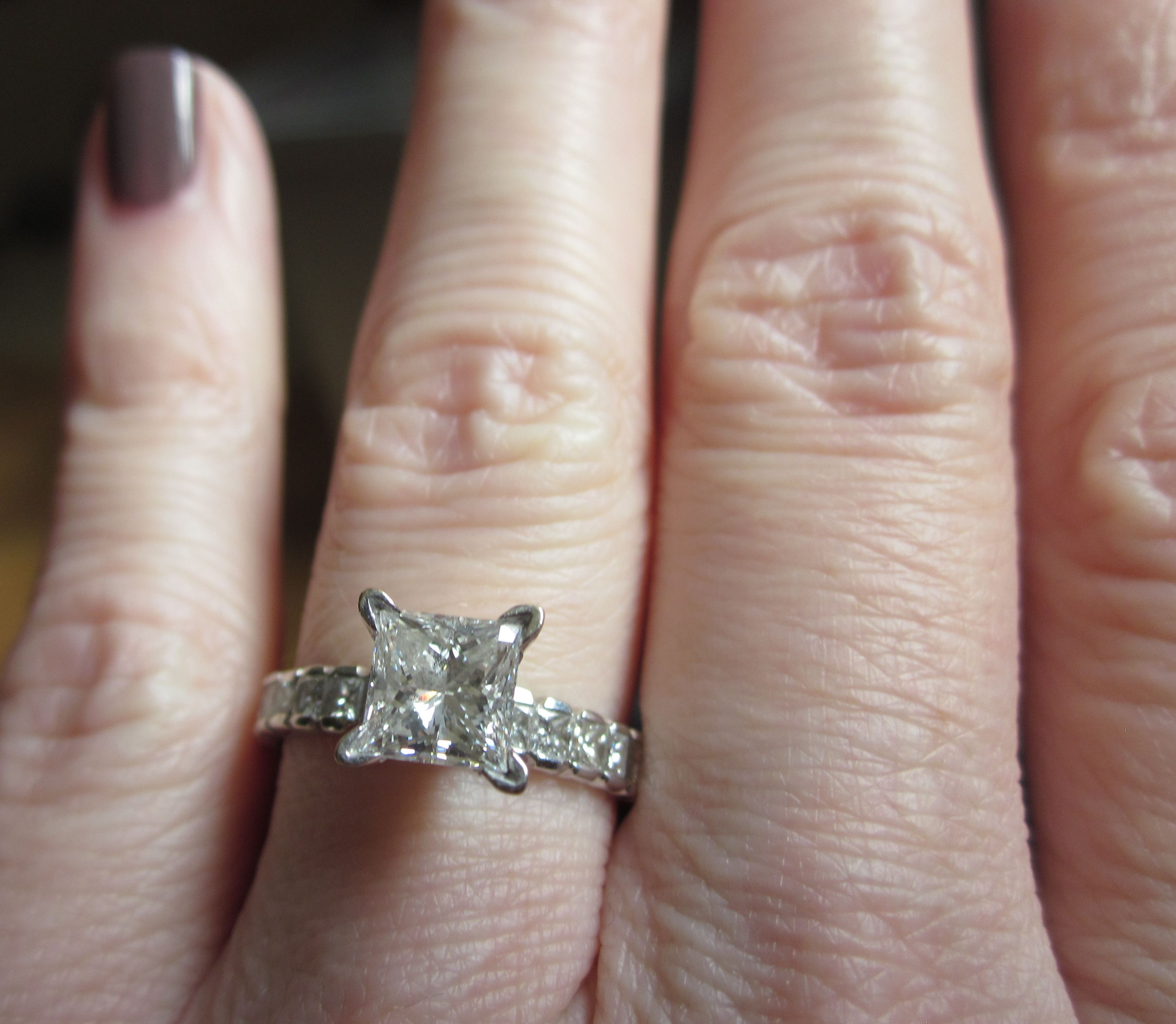 Princess Cut Engagement Rings On Fingers Pictures  Wedding