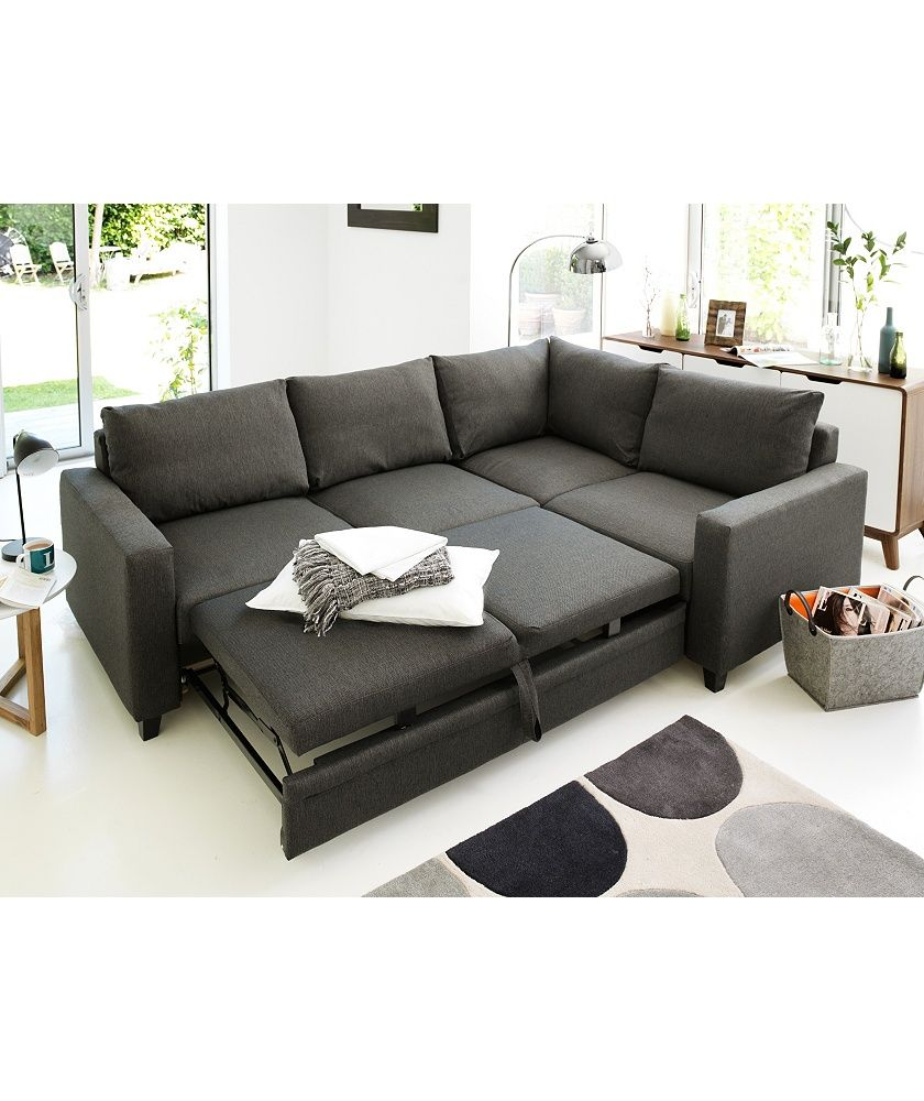 reputable site 9ff12 12b4b Home Seattle Right Corner Fabric Sofa Bed - Charcoal ...
