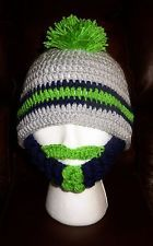 f8442a45331 SEATTLE SEAHAWKS CHILD   ADULT MOHAWK BEARDED BEANIE HAT    WOW!!!