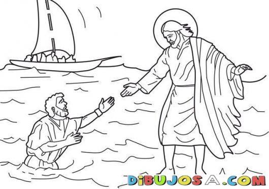 Dibujo De Jesus Caminando En El Agua Para Colorear Colorear Biblicos Dibujo Para Pintar De Jesus Dibujos De Jesus Jesus Para Colorear Temas De Catequesis