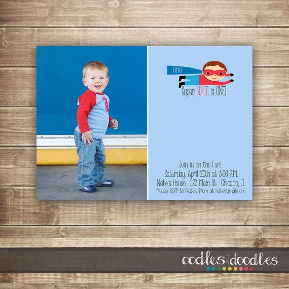 Superhero Birthday Invitation 1st 2nd 3rd Boys First Blue And Red