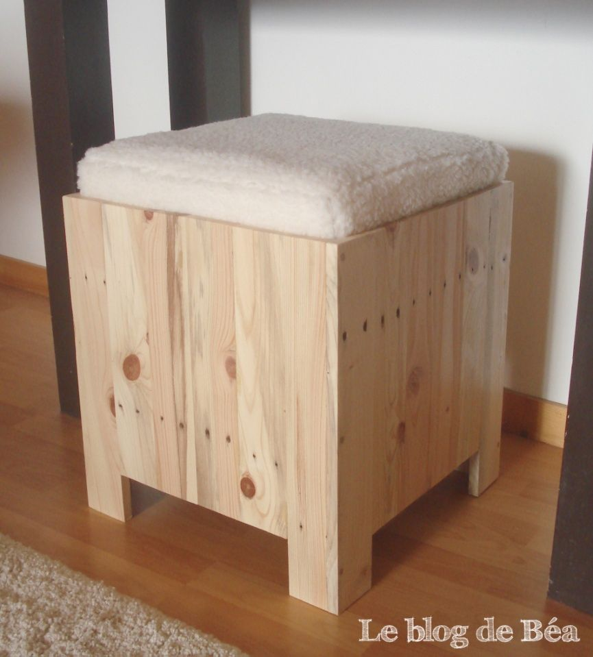 diy tabouret coffre en bois de palette dom o conseils diy palette pinterest bricolage. Black Bedroom Furniture Sets. Home Design Ideas