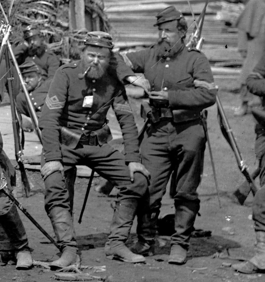 A couple of grizzled noncoms at Manassas. Cropped from a larger image – Manassas, Va.; Men of Co. C, 41st New York Infantry.    Photo taken by Timothy H. O'Sullivan;     Library of Congress Prints and Photographs Division Washington, D.C.