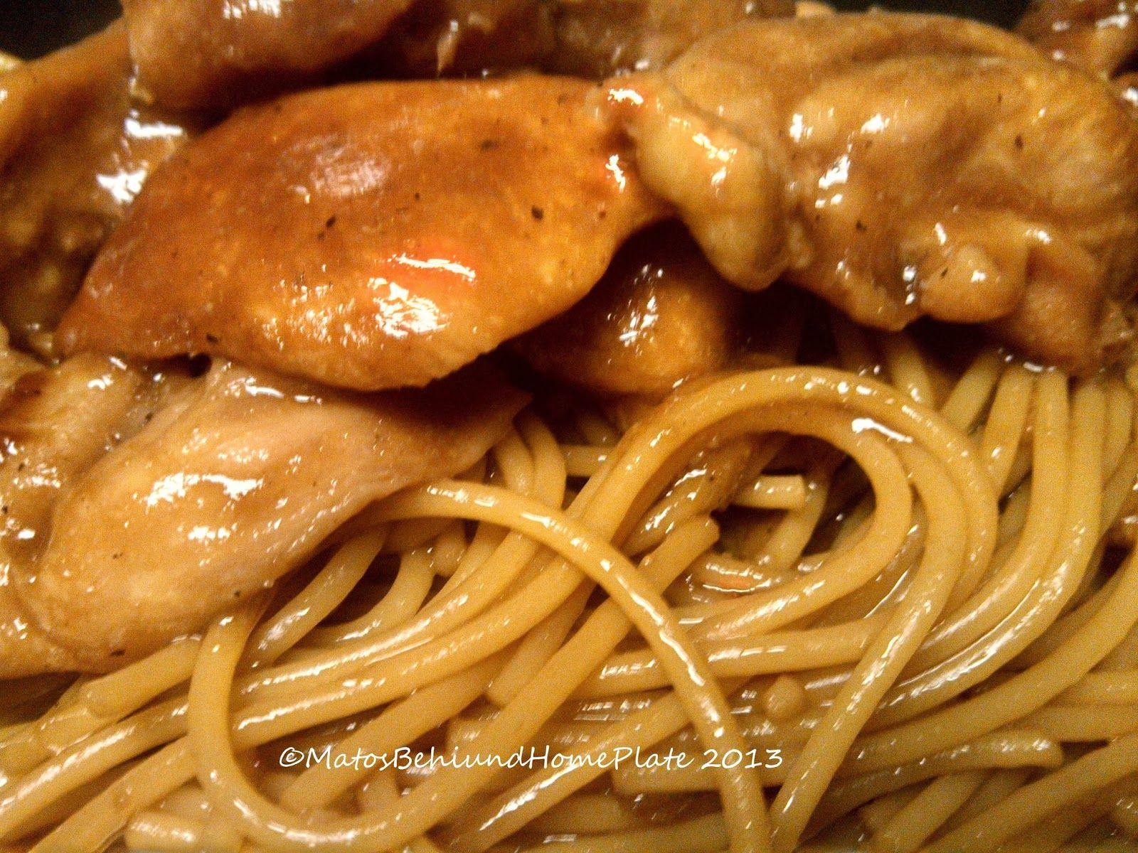 Matos behind home plate teriyaki chicken garlic noodles