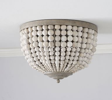 Leila Wood Bead Flush Mount Light Fixtures Flush Mount Wood Bead Chandelier Beaded Light Fixture