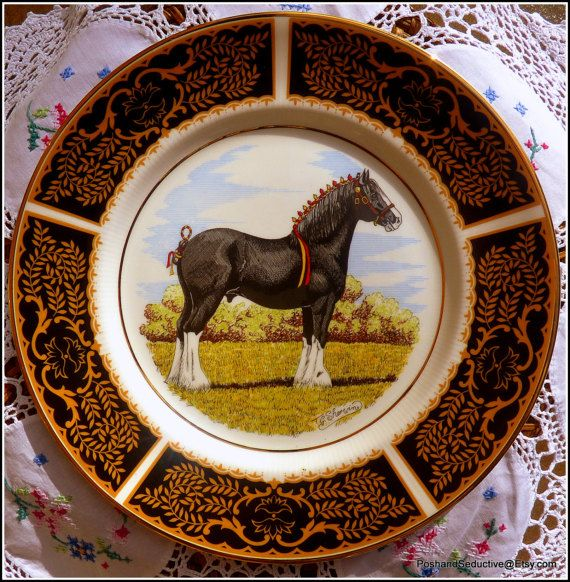 Rare set of vintage fine china dinner plates with hand-painted equestrian theme with shire horses painted by T. & Rare set of vintage fine china dinner plates with hand-painted ...