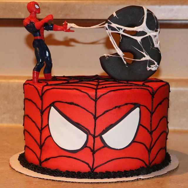 "Photo of The Sweetest Thing on Instagram: ""#spiderman birthday cake. Chocolate and vanilla #marble with vanilla #buttercream. The #marshmallow web is my favorite part!"""