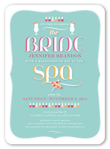 stylish spa day bachelorette party invitations products