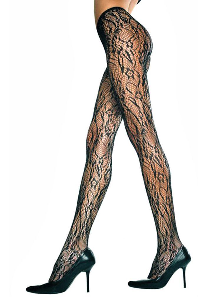 536d926d6f21b Black Seamless Floral Lace Tights – Luxury Divas | Legwear | Tights ...