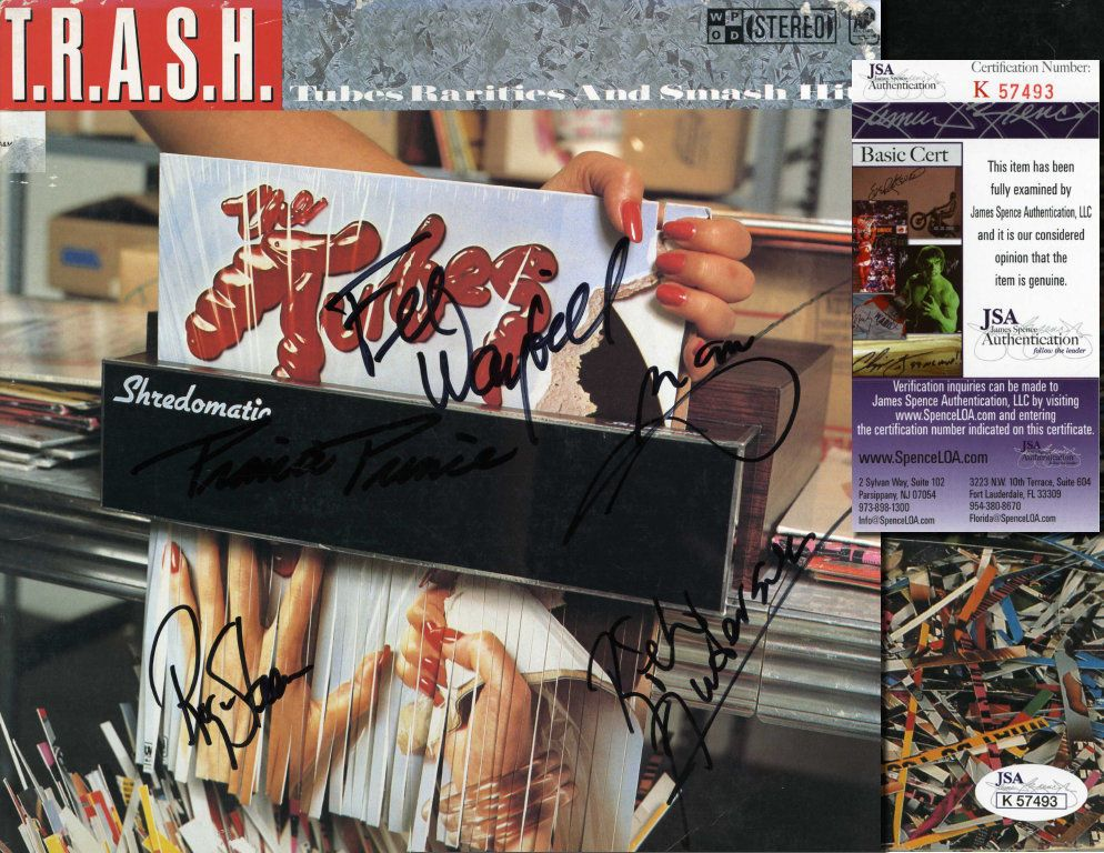 "THE TUBES Hand Signed LP Cover ""T.R.A.S.H."" 5 Sigs - JSA COA - UACC RD#289 in Collectibles, Autographs, Music 