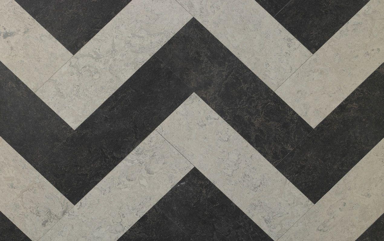 a zig-zag design linoleum shown here in dark brown and white