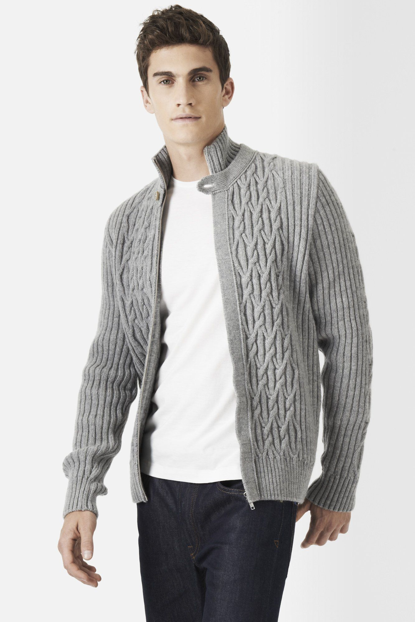Lacoste Wool Cable Textured Full Zip Sweater : Sweaters | Lacoste ...