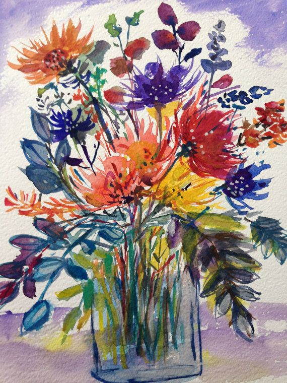 Watercolour painting of flowers collected in jar. Size :7 x 11 inches on Fabriano 140 lb cp paper.