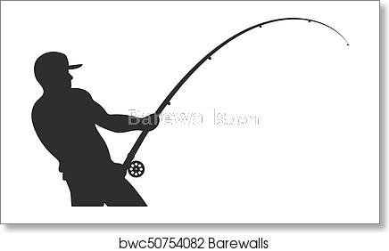 Silhouette Of A Fisherman With A Fishing Rod Vector Posters Art Prints Fine Art Photo Prints Fish Silhouette