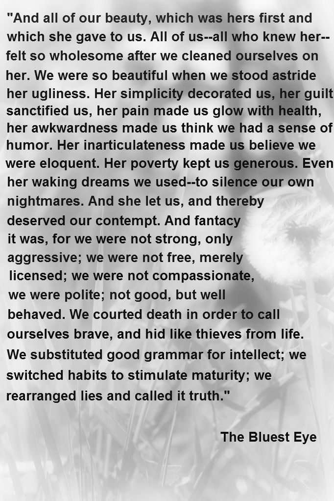 Wow ...such amazing writing...a truly beautiful book: The Bluest Eye