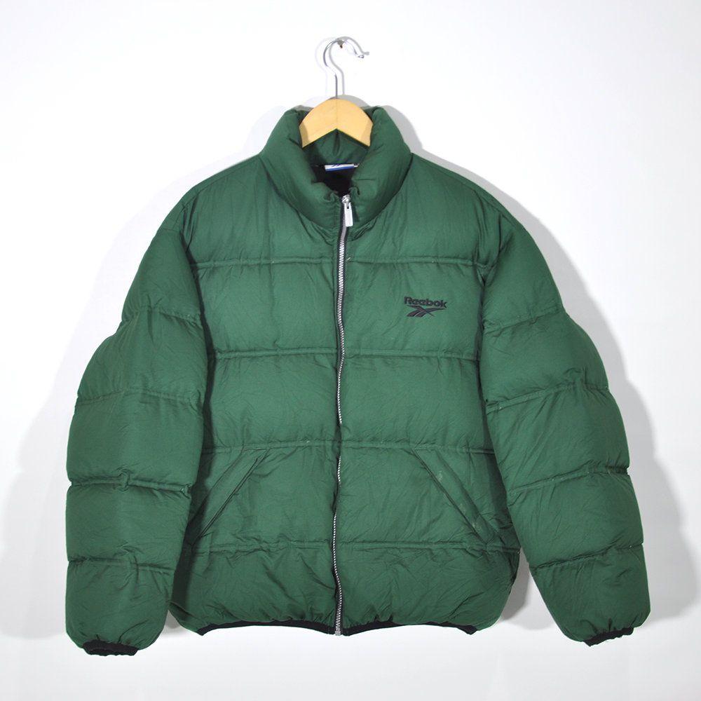Rare Vintage 90s Reebok Fall Winter Coat Down Jacket Reebok Puffer Puffy Jacket Windbreaker Streetwear Green Size M Medium Fall Winter Coat Winter Coat Street Wear [ 1000 x 1000 Pixel ]