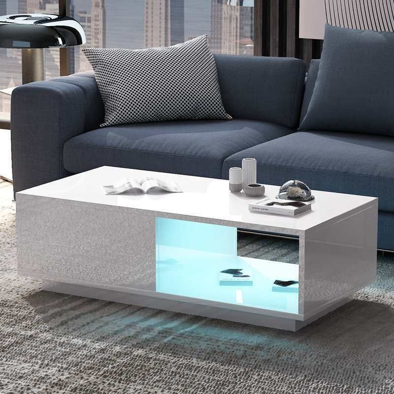Living Room Table Modern White High Gloss Led Coffee Table With Drawer Storage E Black Living Room Table Coffee Table With Drawers White Living Room Tables
