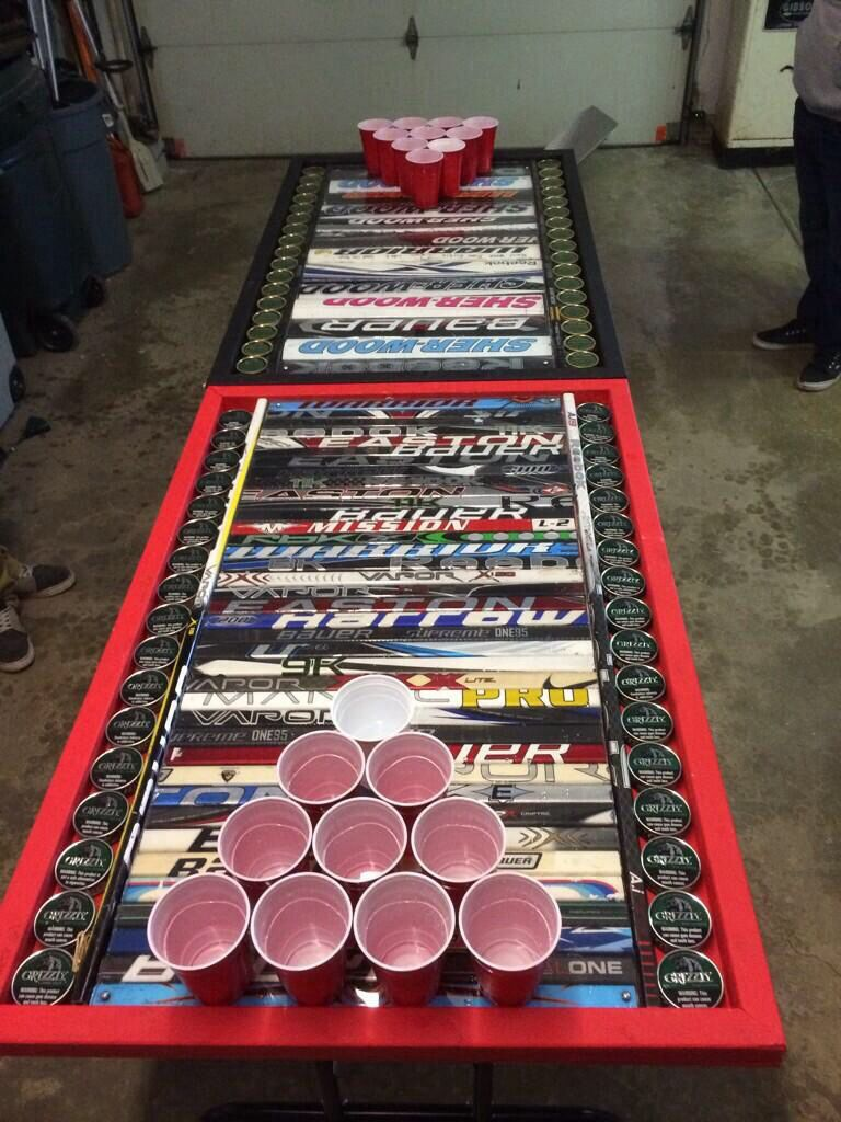 Hockey beer pong table - Hockey Stick And Dip Beer Pong Table