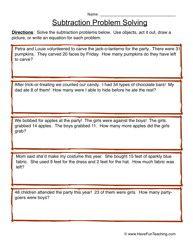 subtraction problem solving worksheet 3 | AJ | Pinterest