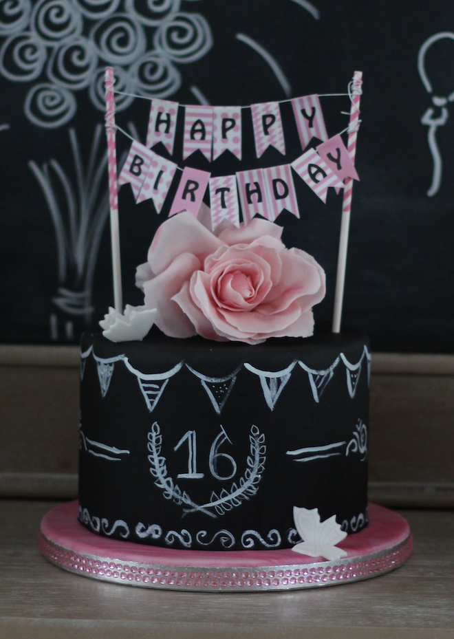 Sweet 16 - Chalkboard # sweet16cakes Love of Cake - Inspire Try Te ...#cake #chalkboard #inspire #love #sweet #sweet16cakes #sweet16cakes