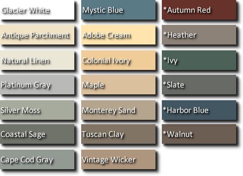 Vinyl siding color chart vinyl siding colors siding in 2018