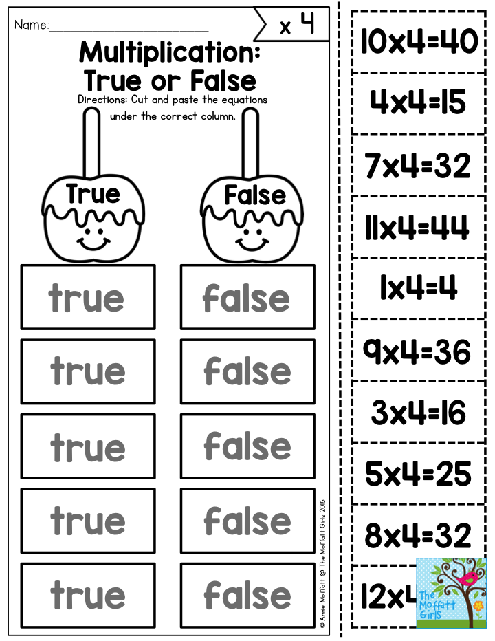 Multiplication: True or False- Decide whether the multiplication ...