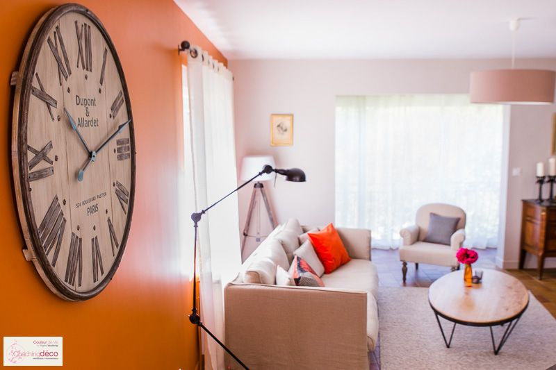 Salon/Salle à manger Tangerine  Broc - Coaching Décoration - photo de salon salle a manger